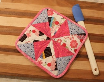Single Potholder - Pink Blue Green Cupcakes - Mother's Day Holiday Gift