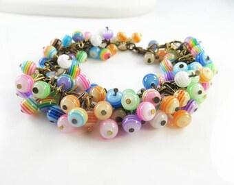 Multi- striped cha cha bracelet