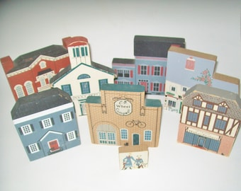Vintage Cat's Meow Village Set of 8 Signed by Faline 1985-1992
