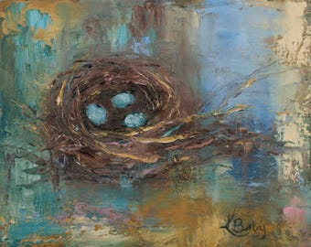 Birds Nest Art Print | Nest | Robin Egg Nest | 8x10|11x14|16x20