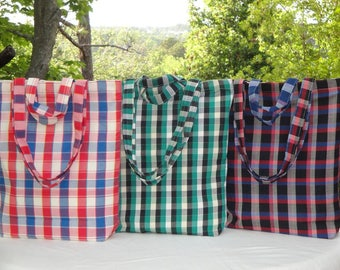 Tote Bag - Plaid Bag - Cotton All Purpose Bag - Beach Bag - Book Bag - Cotton Canvas Lining - Zipper Top - Shoulder Bag