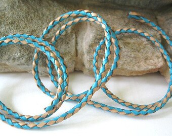 Leather Bolo Cord Turquoise N Natural Round Braided Lace  3 MM  3 Yd Sale