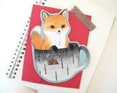 Christmas Fox Card - Fox in a Teacup - Holiday Greeting Card