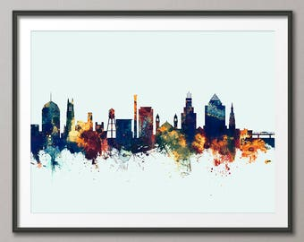 Durham Skyline, Durham North Carolina Cityscape Art Print (2783)