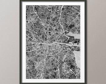 Dublin Map, Dublin Ireland City Map, Street Map of Dublin Eire, Art Print (2806)