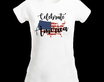 American Flag T Shirt Ladies American Tee Shirt America Graphic Tee Fitted T Shirt