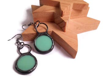 Stained Glass Earrings Green Glass Circle Earrings Handmade Jewelry Glass Metal Jewelry Round Green Dangle Earrings Stained Glass Jewelry