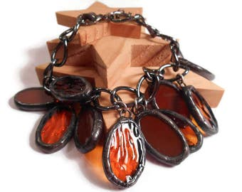 Stained Glass Bracelet Brown Glass Bracelet Stained Glass Jewelry Handmade Bracelet Amber and Brown Bracelet Jewelry Glass Charm Bracelet
