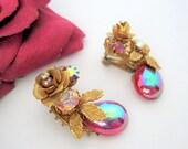 Red Art Glass Earrings - Rhinestone Gold Mesh Roses  - Designer Wired Backing