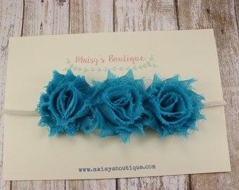 75% OFF Ready to Ship/ Newborn Mini Teal Flower Headband/ Baby Headband/ Flower Girl Headband