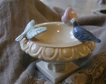 Victorian Era Birdbath Pottery Dish