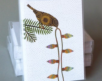 Bird with Bulbs: A boxed set of 10 blank Christmas cards, nature inspired