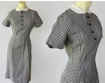 On Sale 50s Wiggle Dress Black White Houndstooth Check Peter Pan Collar Mad Men Party