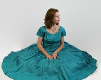 40%OFFSALE 50s 60s Dress Aquamarine Vintage Wedding Prom Circle Skirt Blue