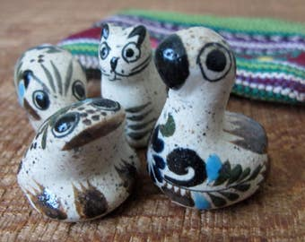 Vintage Mexican Stoneware Painted Animal Figurines in Fabric Pouch Set of 4