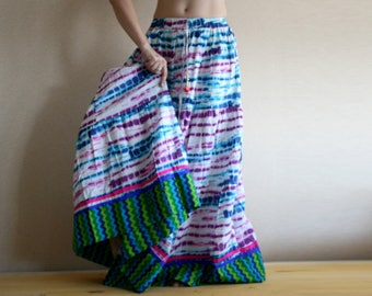 Multicolor Long skirt - Long skirt - Gypsy Skirt - Patchwork Maxi Skirt - Peasant Skirt by Chandrika Shop - Blue multicolored skirt