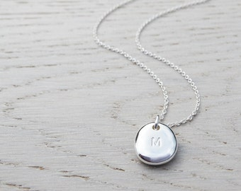 Silver Pebble Initial Necklace - Solid Sterling Silver