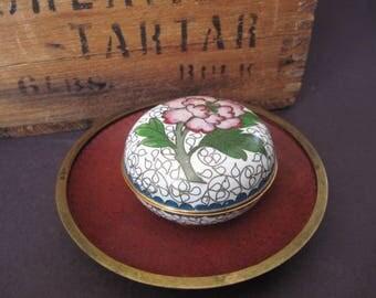 Vintage Cloisonne Pair Floral Trinket Box and Dish