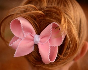 Pink & White Large Moonstitch Hair Bow