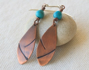 Copper and Turquoise Dangle Earrings