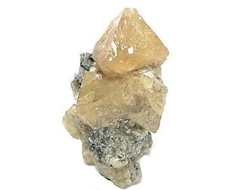 Scheelite Golden Orange Crystals in rock matrix mined in China Mineral Geo Specimen, from an estate collection