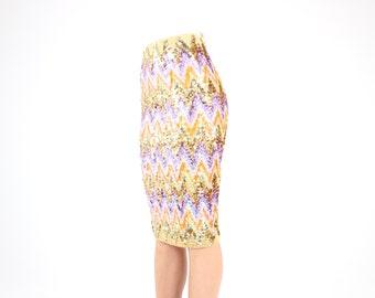 80s NOVELTY Pastel Rainbow Zig Zag Sequin GOLD / METALLIC High Waist Bandage / Bodycon Midi Skirt