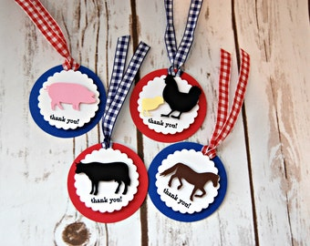 Vintage Chic Farm Theme Birthday Party Favor Tags, Barnyard Party Favor Bags, Farm Animal Party Favor Tag (set of 12) Completed