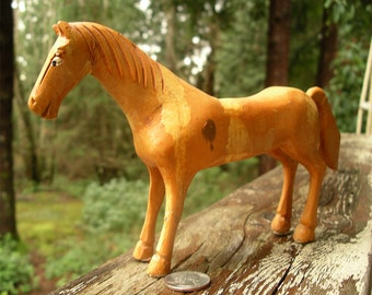 Vintage Hand Carved Wooden Horse - Rode Hard and Put Up Wet Wood Pony - Well-Patched Equine Figurine - Horsey Not Ready to Go to Pasture Yet