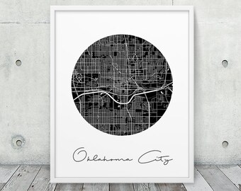 Oklahoma City Street Map Print. Oklahoma City Urban Map Poster. Black White Oklahoma City Print. Minimalist Travel Gift Decor. Printable Art