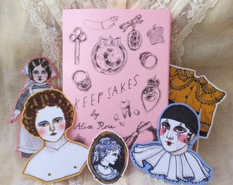 Keepsakes A6 illustration zine with 7 exclusive stickers