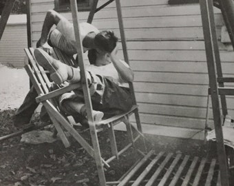 Original Vintage Photograph Kissing on the Porch Swing