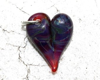 Heart Charm Glass, Lampwork Hand Blown Boro Charm, Heart Jewelry, Green Mini Tiny Baby Heart