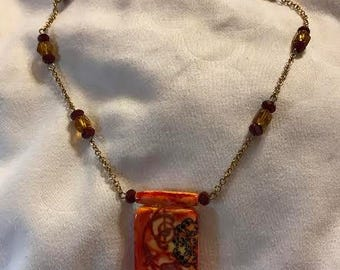 Flames of Desire OOAK altered domino necklace