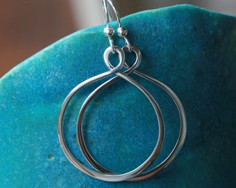 Sterling Silver Minimalist Infinity Style Hoop Drop Earrings in Polished Silver Finish