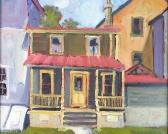 ORIGINAL art painting-Landscape Oil Painting-Plein air-Impressionist-Historic porches-Affordable Wall Art-Home decor-Interior decoration-Art