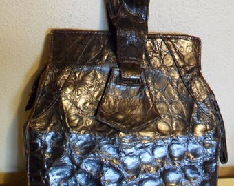 vintage  leather purse handbag zipper closure