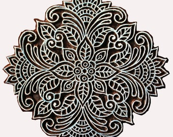 Hand Carved Big Cirle Block for Printing - Textile and Paper Printing Stamp - Block Printing Supply - SCrapbooking - Gift for Her - Gifts