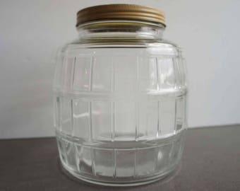 Vintage Hossier Glass Storage Jar Yellow Metal Top