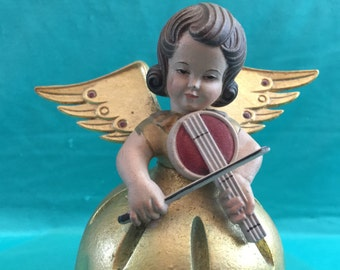 Ave Maria Anri Music Box Angel Reuge Vintage Hand Painted
