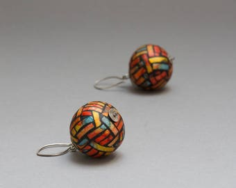 Orange Statement Earrings - Sterling Silver & Polymer Clay Art Jewelry - Modern Sphere Earrings for Mom - Avant Garde Jewelry - Gift for Her
