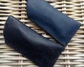 CLEARANCE SALE! Handstitched in UK soft leather black deerskin or navy blue leather glasses case