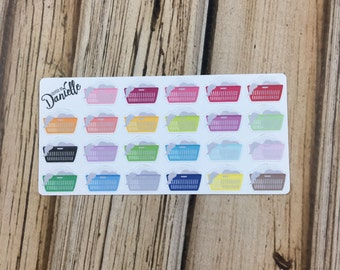Laundry Basket Planner Stickers, Cleaning Planner Stickers, Chore Planner Sticker, Laundry Stickers, set of 23