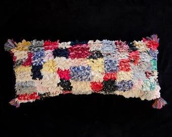 Vintage Moroccan Patchwork Lumbar Pillowcase Boucherouite Pillow Decorative Pillow