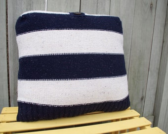 Navy Stripe Sweater Pillow