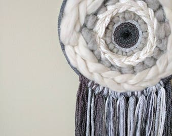Grey skies and Lion Eyes woven textile / weave / wallart / wall hanging