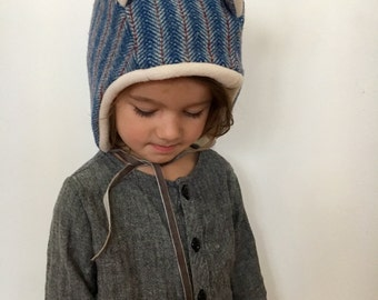 Wee Wool Bear Bonnet for Baby, Toddler and Kids - Made to Order
