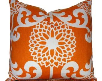 ORANGE PILLOW..20x20 inch.Pillow Cover. Decorative Pillows. Orange Floral.Orange Flower.Orange Flower.Floral Pillow.Housewares.Home Decor.cm
