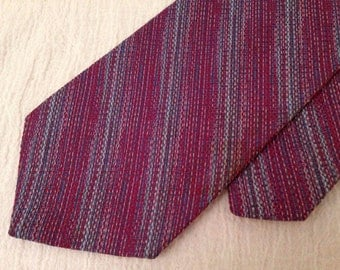 Purple D. EDUARDO Polyester Mid Century Retro Mens WIDE TIE Vintage