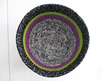 Coil Basket, Black, White, Gray, Amethyst and Wasabi, Storage Container