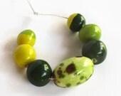 African clay beads, Handmade Ceramic Beads, African beads, green beads, Clay beads, Artisan Beads, 7 handmade beads, bead supplies, handmade